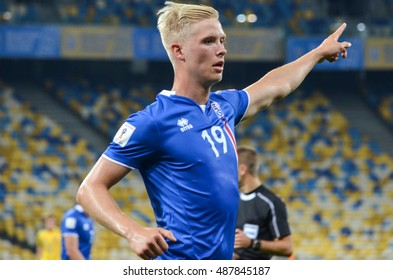 KYIV, UKRAINE - SEPT 5, 2016: Hordur Magnusson during the FIFA World Cup 2018 qualifying game of Ukraine national team against Iceland at NSC Olympic stadium