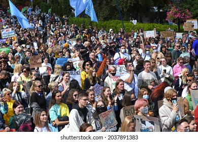 Kyiv, Ukraine Sept.5. 2021: All-Ukrainian March for Animal Rights 2021. Thousands of people took part in the march. Protesters demanded to ban circuses with animals, fur farms, dolphinariums