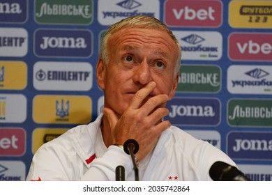 KYIV, UKRAINE - SEPTEMBER 03, 2021: France's head coach Didier Deschamps reacts during a press conference at the Olympic stadium on the eve of the FIFA World Cup Qatar 2022 qualification
