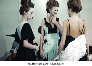 KYIV, UKRAINE - SEPTEMBER 1, 2020: Backstage RYBALKO fashion show during Ukrainian Fashion Week  Day 2.