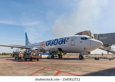 KYIV, UKRAINE - SEPTEMBER 10, 2019: Flydubai Boeing 737 near airport gate. State budget airline United Arab Emirates