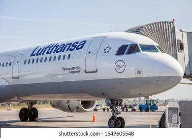 Kyiv, Ukraine - September 10, 2019: Passenger plane D-AISN Lufthansa airline Airbus A321-200 lands at the Boryspil Airport.