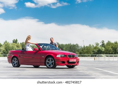 Kyiv, Ukraine - September 10th, 2016: Red BMW 3 series convertible car