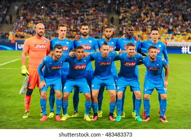 KYIV, UKRAINE - SEPTEMBER 13, 2016: Group photo of SSC Napoli players before UEFA Champions League game against FC Dynamo Kyiv at NSC Olympic stadium in Kyiv, Ukraine.