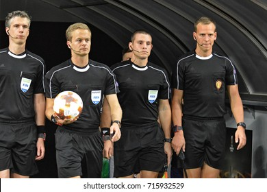 KYIV, UKRAINE - SEPTEMBER 14, 2017: Referee go to the stadium before the UEFA Europa League football match between FC Dynamo Kyiv and KF Skenderbeu Korce at the Olimpic Stadium