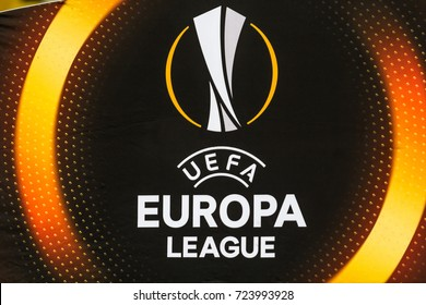 Kyiv, Ukraine - September 14, 2017: The sign and logo of the UEFA Europa League during the UEFA Europa League match between Dynamo Kyiv vs Skenderbeu at NSC Olympic stadium in Kyiv, Ukraine.