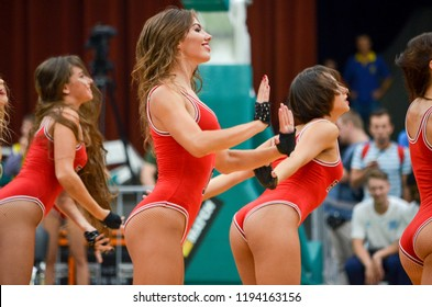 KYIV, UKRAINE - September 14 2018: Red Foxes Olympic dance team in action. Cheerleading performance at FIBA World Cup 2019 European Qualifiers match. Palace of Sports, Kiev