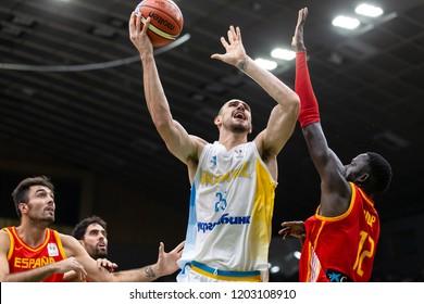 KYIV, UKRAINE - SEPTEMBER 14, 2018: Atlanta Hawks center Oleksiy Alex Len beautiful close-up portrait. Impressive spectacular attack the basket in the paint.