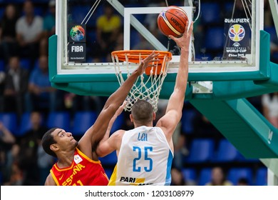KYIV, UKRAINE - SEPTEMBER 14, 2018: Atlanta Hawks center Oleksiy Alex Len beautiful finish in post-up with layup shot.