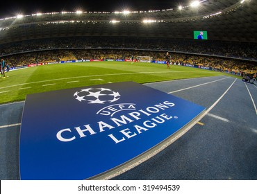 KYIV, UKRAINE - SEPTEMBER 16, 2015: UEFA Champions League Logo on racetrack before the game between FC Dynamo Kyiv and FC Porto at NSC Olimpiyskyi stadium