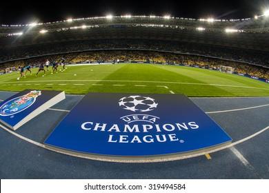 KYIV, UKRAINE - SEPTEMBER 16, 2015: UEFA Champions League Logo on racetrack before the game between FC Dynamo Kyiv and FC Porto at NSC Olimpiyskyi stadium