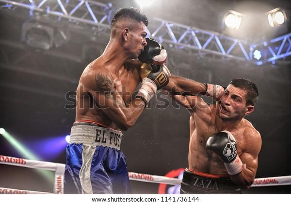 Kyiv, Ukraine - September 16, 2017: Sparta boxing show included six ranking fight . An unidentified boxers in the ring during fight for ranking points in the NSC Olimpiyskiy, Kyiv, Ukraine