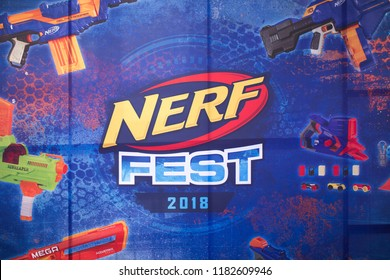 Kyiv, Ukraine - September 16, 2018:  Close up banner with a toy guns NERF on playground,  the inscription NERF, logo.