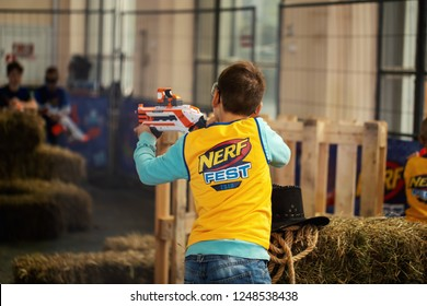 Kyiv, Ukraine - September 16, 2018:    Boy with NERF gun at playground. Nerf Festival