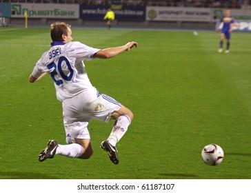 KYIV, UKRAINE - SEPTEMBER 16: Oleg Gusev of Dynamo Kyiv jumps for the ball during UEFA Europa League game against FC BATE on September 16, 2010 in Kyiv, Ukraine