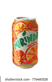 KYIV, UKRAINE - SEPTEMBER 18, 2017: Can of Mirinda on white background