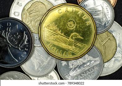 Kyiv, Ukraine - September 18, 2017:  Close-up Canadian coins.