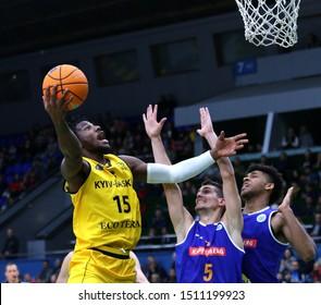 KYIV, UKRAINE - SEPTEMBER 20, 2019: Deon Edwin of BC Kyiv Basket (L) attacks during the FIBA Basketball Champions League Qualifiers game BC Kyiv Basket v Kapfenberg Bulls. BC Kyiv Basket won 73-63