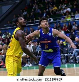 KYIV, UKRAINE - SEPTEMBER 20, 2019: Deon Edwin of BC Kyiv Basket (L) and Jeremy Jones of Kapfenberg Bulls fights for a rebound during their FIBA Basketball Champions League Qualifiers game in Kyiv