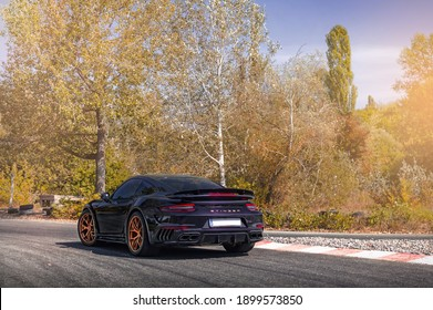 Kyiv, Ukraine - September 2019. The world's only exclusive sports car Porsche 911 991 Turbo S tuned by Topcar.