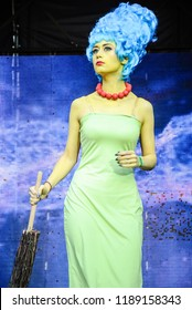 KYIV, UKRAINE – SEPTEMBER 23, 2018: Actress cosplaying Marge Simpson, a character from the American cartoon The Simpsons, at ComicConUkraine - the first pop culture convention in Ukraine