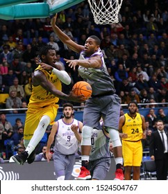 KYIV, UKRAINE - SEPTEMBER 26, 2019: Deon Edwin of BC Kyiv Basket (L) and Jasiel Rivero of San Pablo Burgos in action during their FIBA Basketball Champions League Qualifiers game in Kyiv