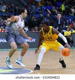 KYIV, UKRAINE - SEPTEMBER 26, 2019: Deon Edwin (R) of BC Kyiv Basket in action during the FIBA Basketball Champions League Qualifiers game BC Kyiv Basket v San Pablo Burgos in Kyiv