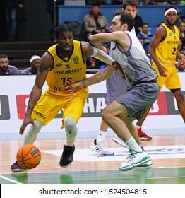 KYIV, UKRAINE - SEPTEMBER 26, 2019: Deon Edwin (L) of BC Kyiv Basket in action during the FIBA Basketball Champions League Qualifiers game BC Kyiv Basket v San Pablo Burgos in Kyiv