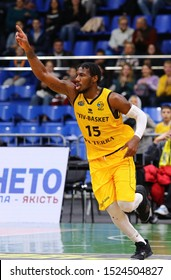 KYIV, UKRAINE - SEPTEMBER 26, 2019: Deon Edwin of BC Kyiv Basket reacts during the FIBA Basketball Champions League Qualifiers game BC Kyiv Basket v San Pablo Burgos in Kyiv