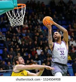 KYIV, UKRAINE - SEPTEMBER 26, 2019: Augusto Lima of San Pablo Burgos attacks during the FIBA Basketball Champions League Qualifiers game BC Kyiv Basket v San Pablo Burgos in Kyiv