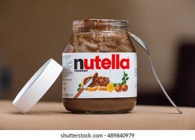 Kyiv, Ukraine - September 27th, 2016: Jar of Nutella Hazelnut on a bokeh background. Nutella is the brand name of a chocolate hazelnut