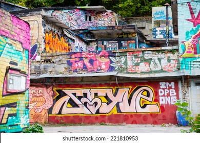 KYIV, UKRAINE - SEPTEMBER 29: Street art graffiti on abandoned buildings of the city, September 29, 2014 in Kyiv, Ukraine.