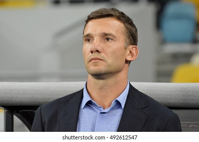 KYIV, UKRAINE - SEPTEMBER 5, 2016: Head coach of Ukraine National football team Andriy Shevchenko looks on during FIFA World Cup 2018 qualifying game against Iceland