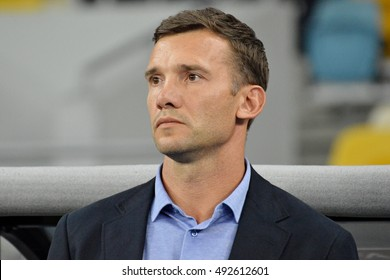 KYIV, UKRAINE - SEPTEMBER 5, 2016: Head coach of Ukraine National football team Andriy Shevchenko looks on during FIFA World Cup 2018 qualifying game against Iceland