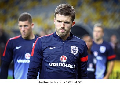 KYIV, UKRAINE - SEPTEMBER 9, 2013: Michael Carrick of England looks on during training session at NSC Olympic stadium before FIFA World Cup 2014 qualifier game against Ukraine