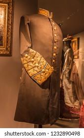 KYIV, UKRAINE-17 NOV, 2018: gold embroidery on the dress uniform guardian mid-19th century. at the fashion show in Kiev, Ukraine.