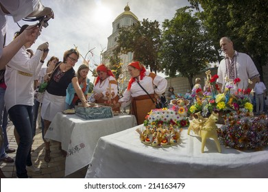 Kyiv; Ukraine-August 24; 2014:After military parade on Khreschatyk in honor of Independence Day people in national embroidered shirts gathered at St. Sophia's Square on the feast of wedding ceremonies