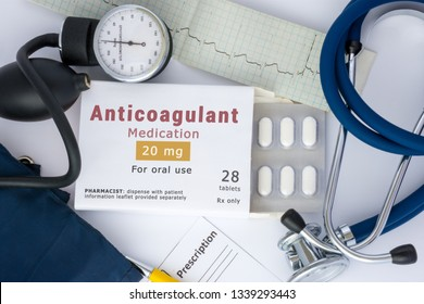 "KYIV, UKRAINE-MARCH 15, 2019: Anticoagulant drug for blood, for prevention or prophylaxis of vascular diseases of heart or brain. Packing of pills with inscription ""Anticoagulant Medication"" on table"