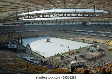 "KYIV, UKRAINE-OCTOBER 7: Before opening of the new soccer stadium ""NSK Olympiyskiy"" October 7, 2011 in Kyiv.  It Is constructed  for carrying out of the championship of EURO 2012."
