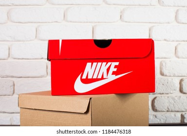 Kyiv, Ukraine-September 17, 2018. Nike red Box., Box nike shoes