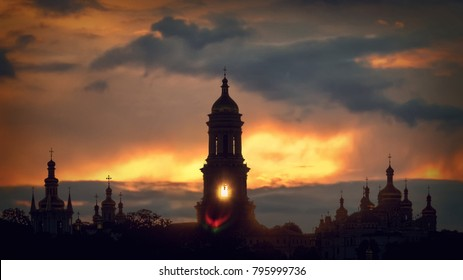 The Kyiv-Pechersk Lavra When the sun sets over the horizon ...