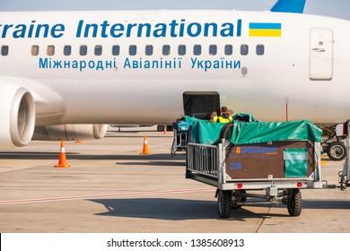 Kyiv/Ukraine - 04.20.2019: Aircraft preparation. Commercial flight service. Ukraine international airlines.