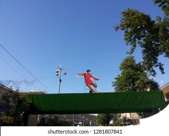 Kyiv/Ukraine - May 26 2018:Mo Salah mascot on city roof.UEFA Final