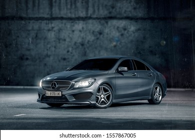 Kyiv/Ukraine - November 6, 2019: Closeup of Mercedes Benz CLA 200 AMG. Grey car Mercedes.