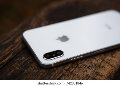 KYIV,UKRAINE-5 OCTOBER,2017:Iphone x.New Apple 10 smart phone model.Trendy white latest cell phone model.Dual photo camera lens on back panel