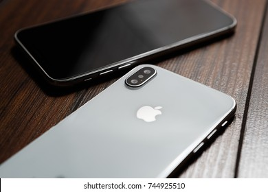 KYIV,UKRAINE-9 OCTOBER,2017:Iphone X smartphones.Iphone 10 in close up.Latest Apple Iphone10.Mobile iphones model.Illustrative editorial.