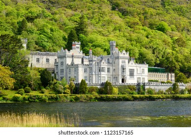 Kylemore Abbey, a Benedictine monastery founded on the grounds of Kylemore Castle, in Connemara. Famous tourist attraction in County Galway, Ireland.