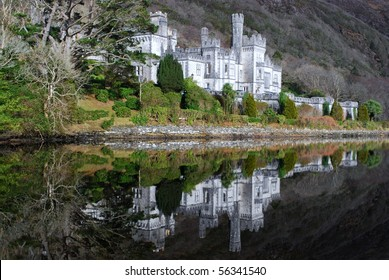 Kylemore Abbey castle of Ireland reflecting in a lake