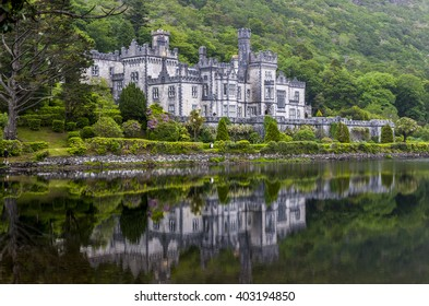 Kylemore Abbey on lake Pollacapall