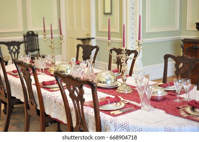 Kylemore Abbey, Pollacappul, Connemara, Co. Galway,  Ireland June 2017, Castle dinning table.